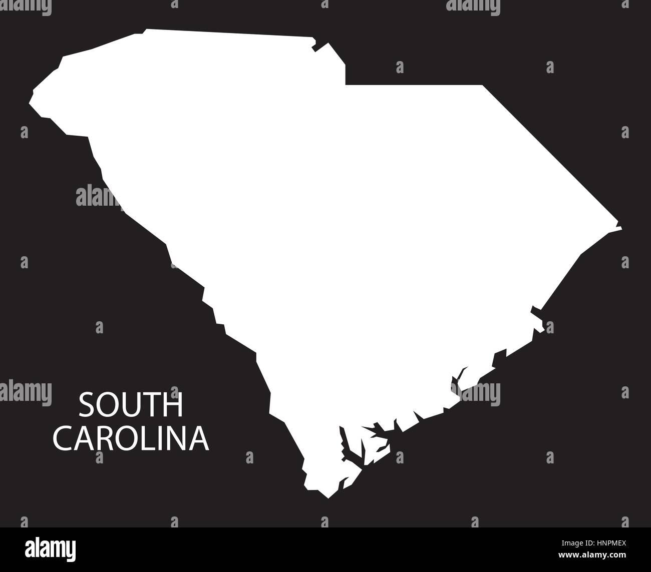 South Carolina USA Map black inverted silhouette Stock Vector Art