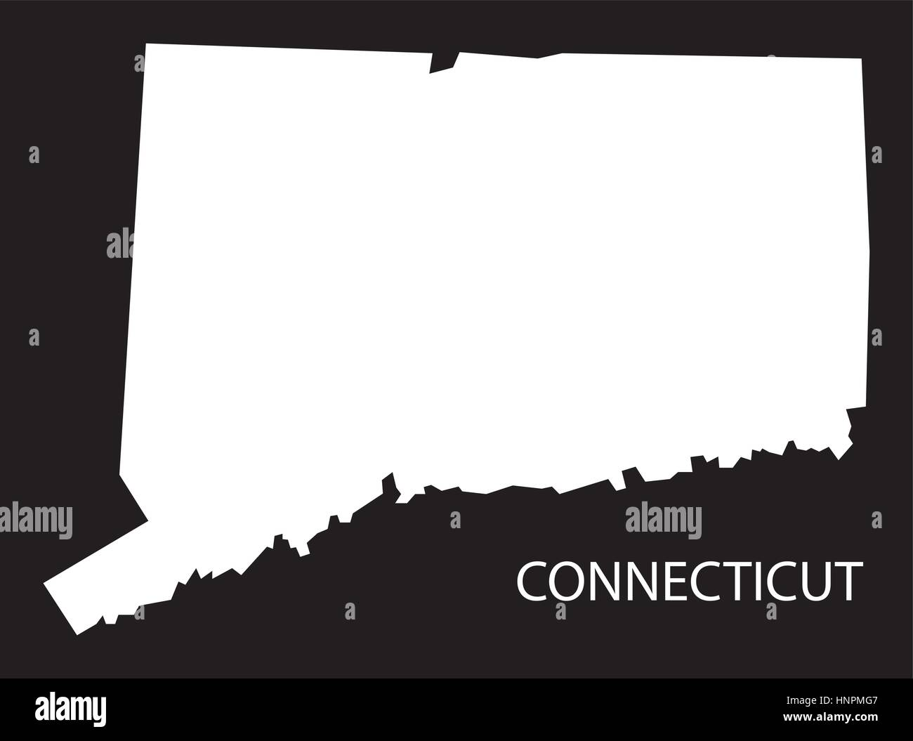Connecticut USA Map Black Inverted Silhouette Stock Vector Art - Usa map black