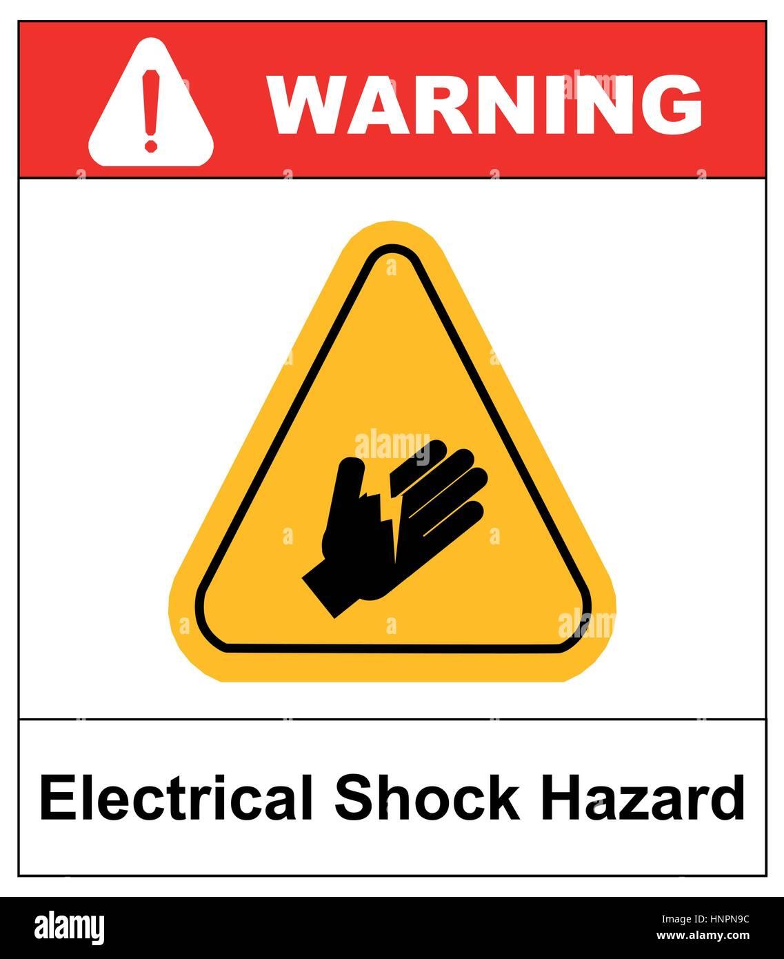 Electrical shock hazard symbol vector illustration with warning electrical shock hazard symbol vector illustration with warning sign in yellow triangle isolated on white buycottarizona Images