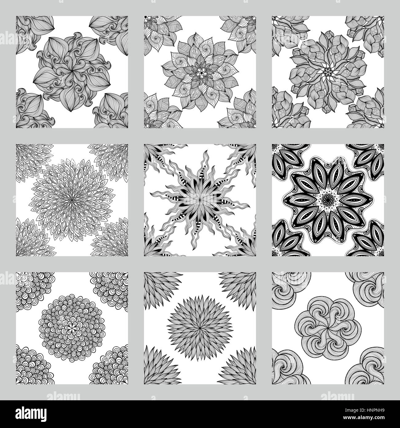 set of mandala seamless patterns black and white round ornament