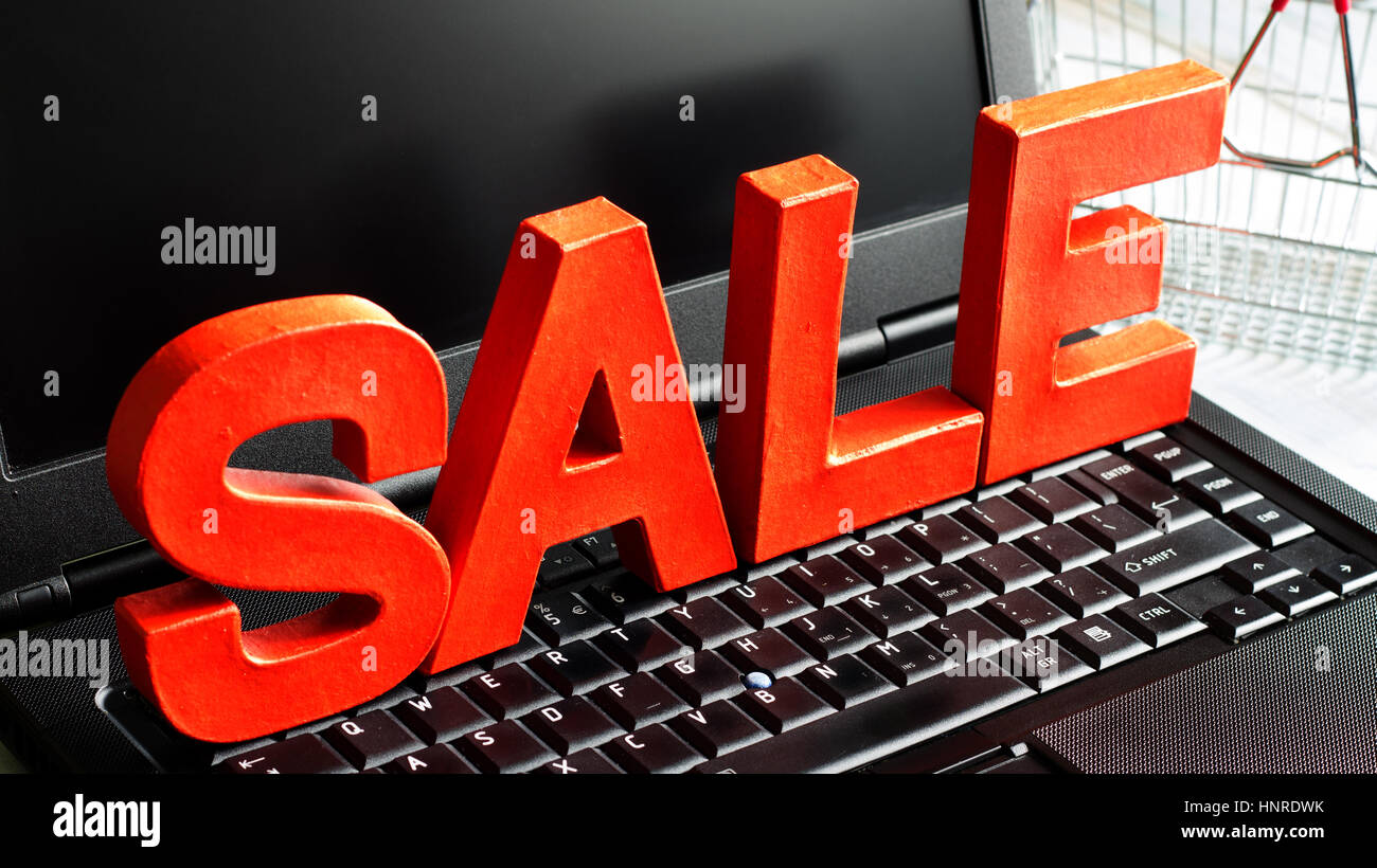 Sign Letters For Sale Sale Letters On Laptop Shopping Online Sign Concept Stock Photo