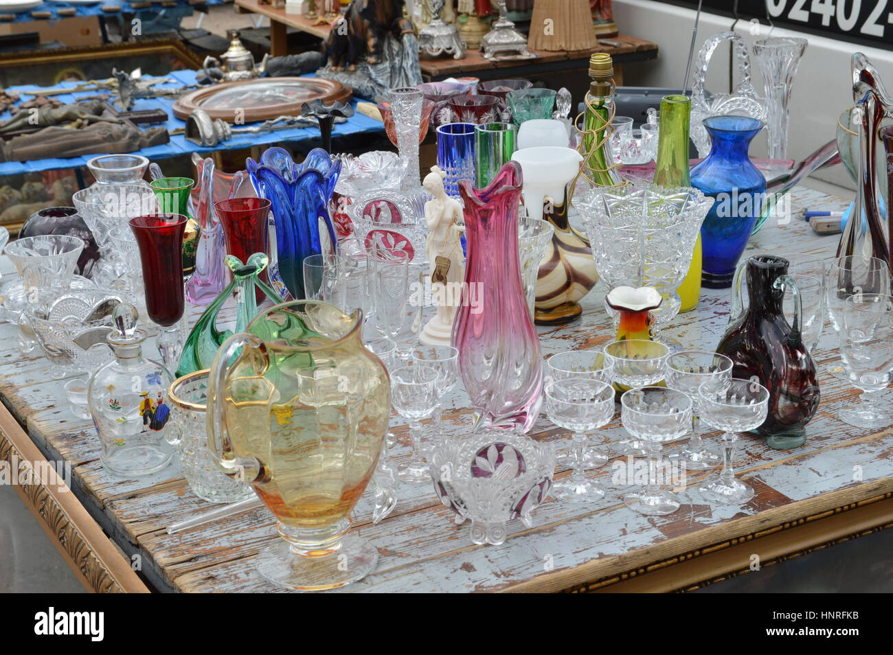Cologne germany september 6 2015 old glasses jars and vases cologne germany september 6 2015 old glasses jars and vases on garage market a source for cheap shopping and collectors floridaeventfo Images