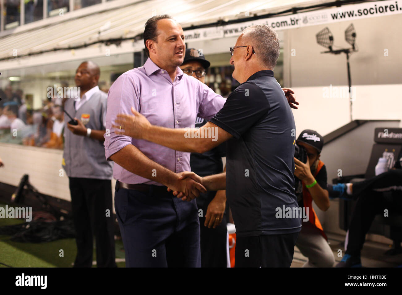 Santos brazil 15th feb 2017 the rogrio ceni and dorival junior santos brazil 15th feb 2017 the rogrio ceni and dorival junior technicians greet before the game between santos vs so paulo held at the estadio urbano m4hsunfo Images