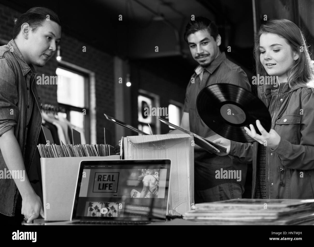 Vinyl Record Store Music Shopping Oldschool Classic Concept Stock ...