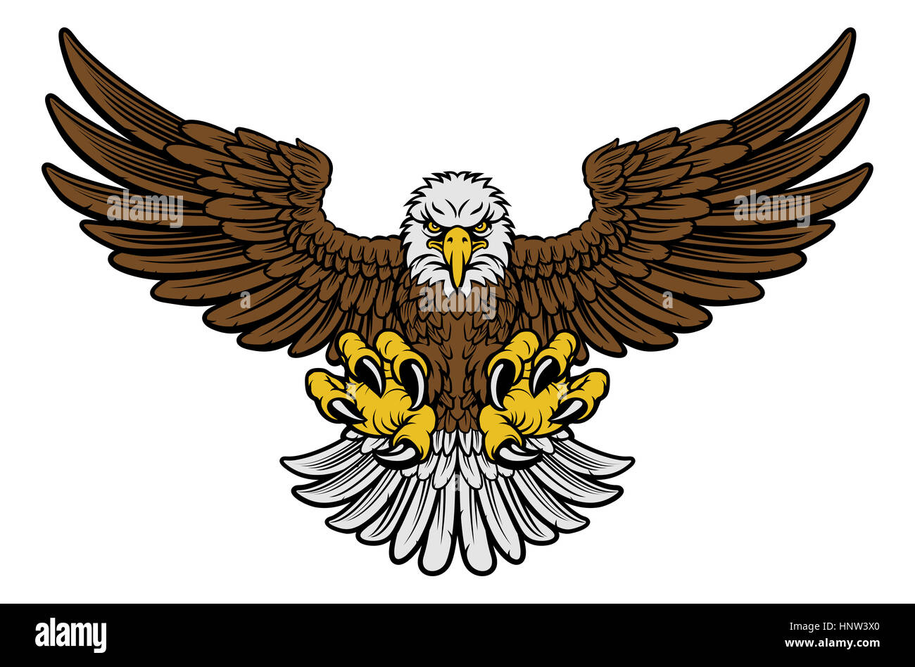 cartoon bald american eagle mascot swooping with claws out