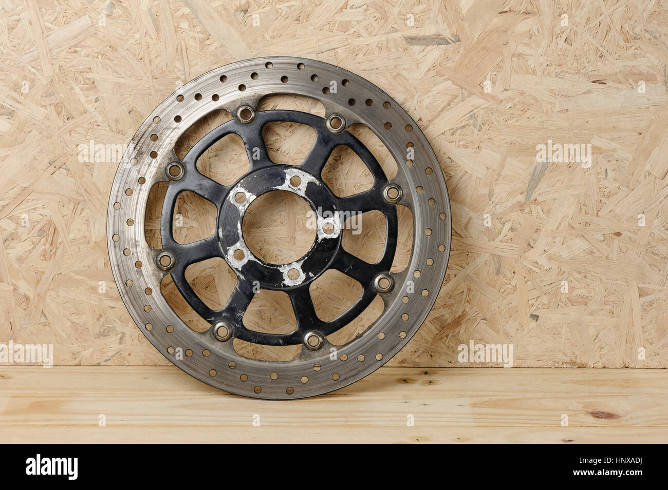 closeup old motorcycle disc break, vehicle parts Stock Photo ...