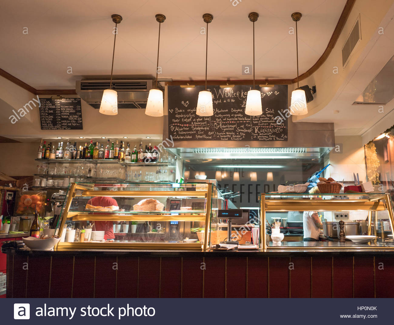 Interior cafe Bakery Display Cabinet Restaurant Stock Photo ...