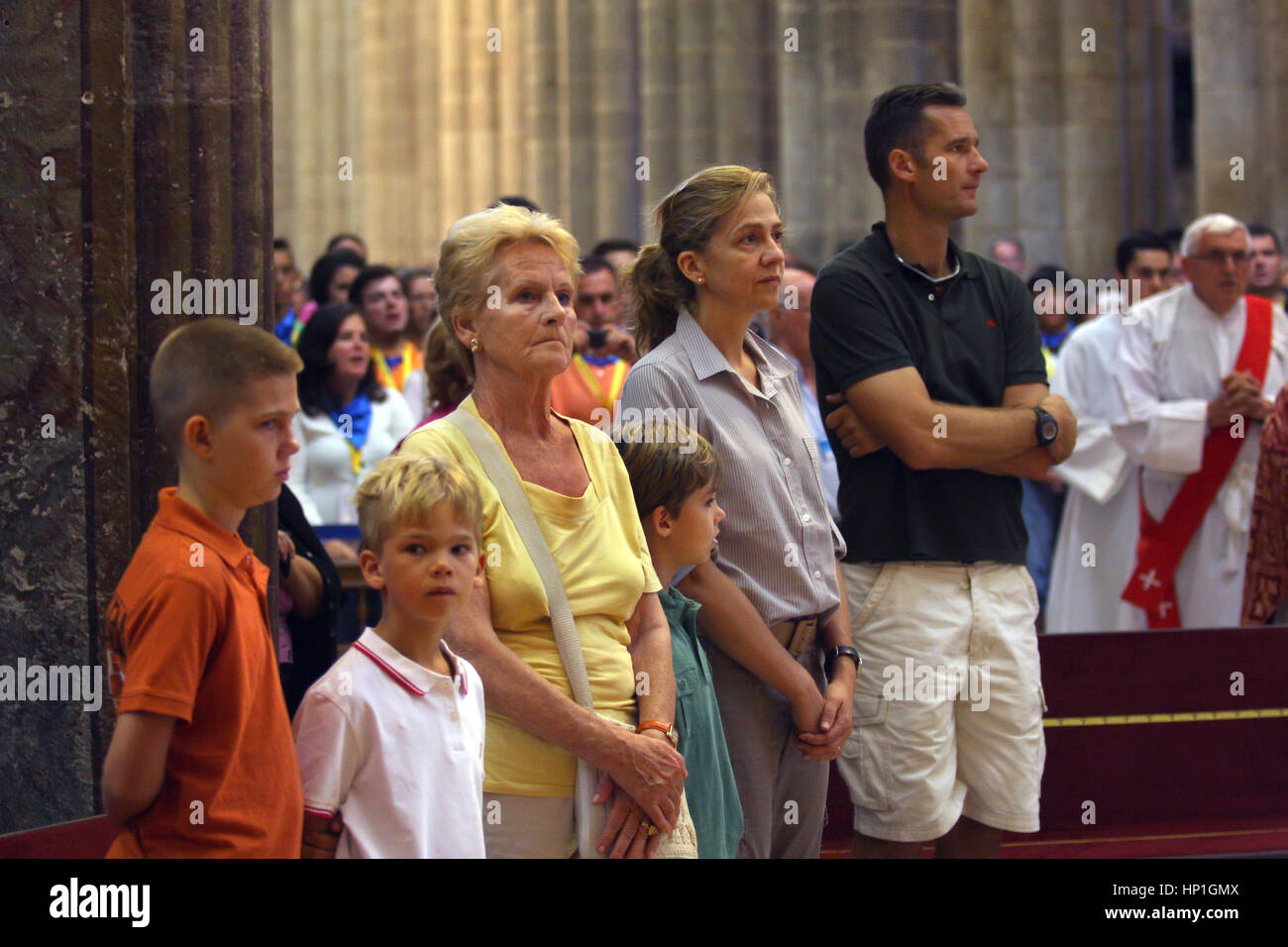 FILE Iñaki Urdangarin And Cristina De Borbon With Sons Juan Valentin ,  Pablo Nicolas And Miguel In Santiago Pictured : His Mother Claire Liebaert  Iñaki ...