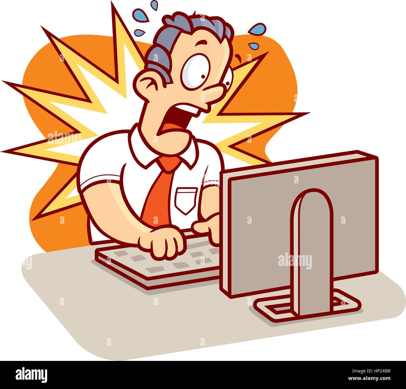 A cartoon man stressed at work on his computer Stock ...