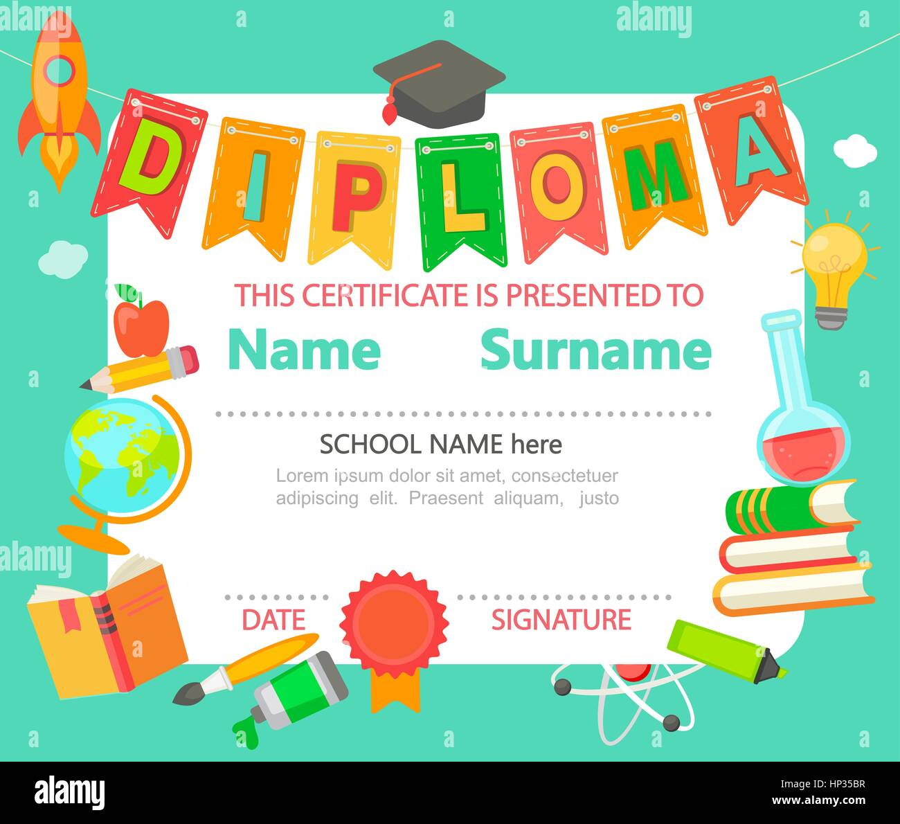 Kindergarten preschool elementary school kids diploma certificate kindergarten preschool elementary school kids diploma certificate background design template vector illustration xflitez Images