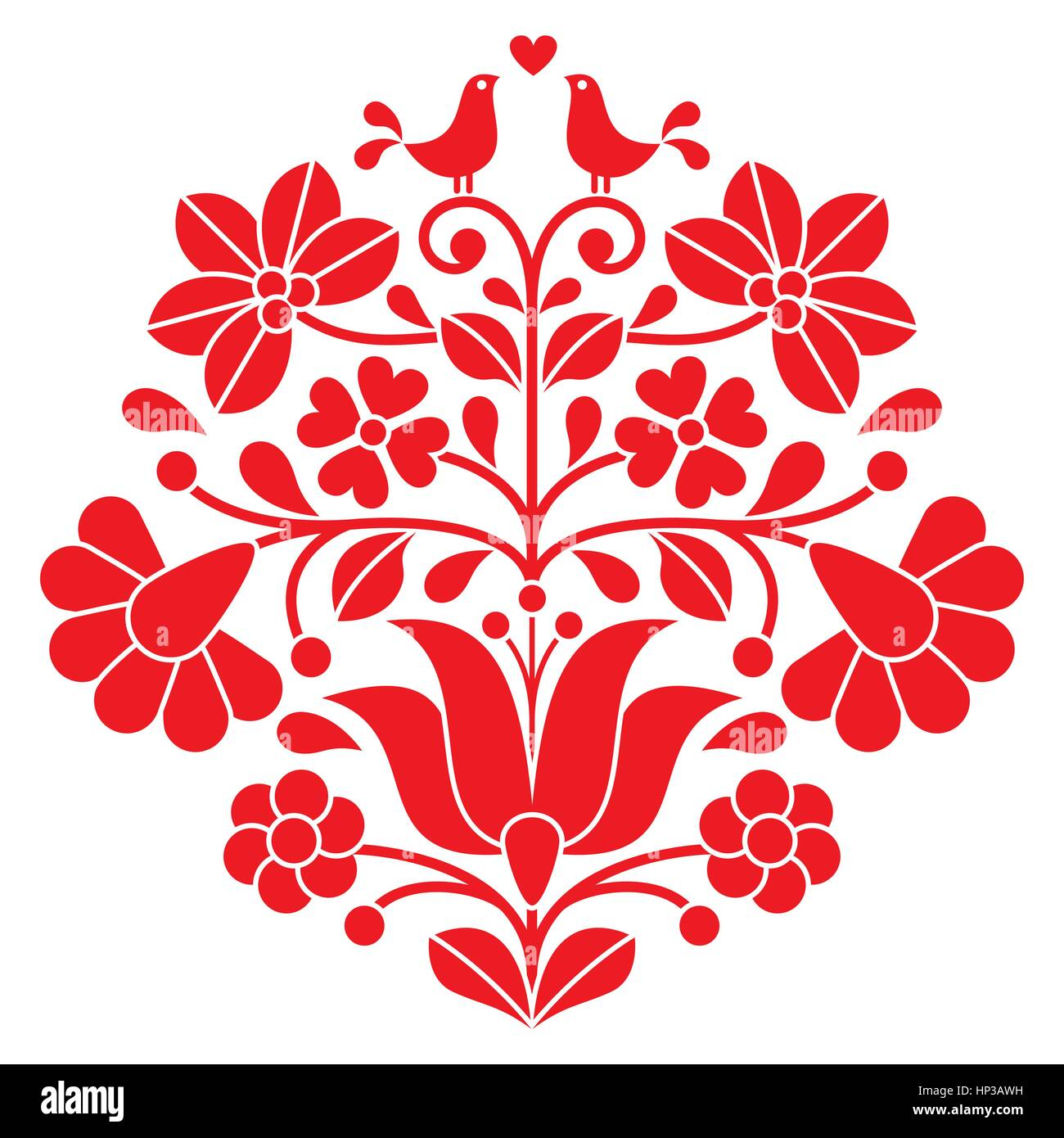 Red Flower Line Drawing : Kalocsai red embroidery hungarian floral folk pattern