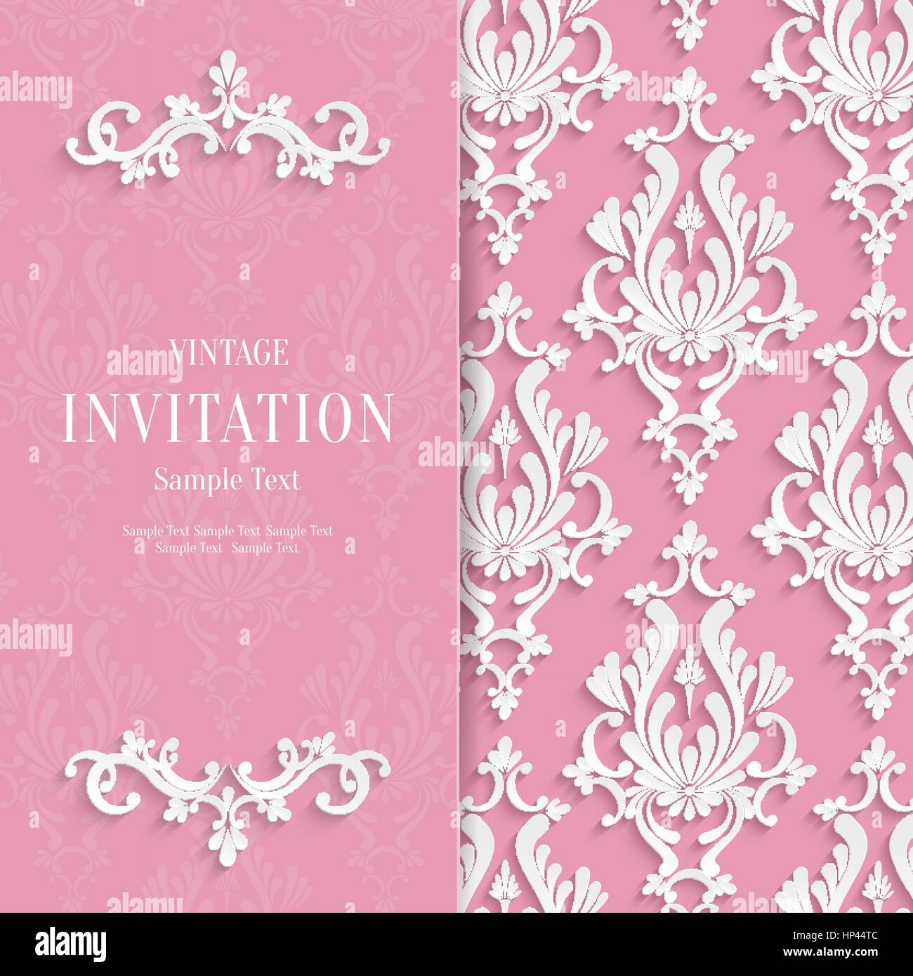 Vector Pink Floral 3d Wedding Invitation Background Template Stock ...