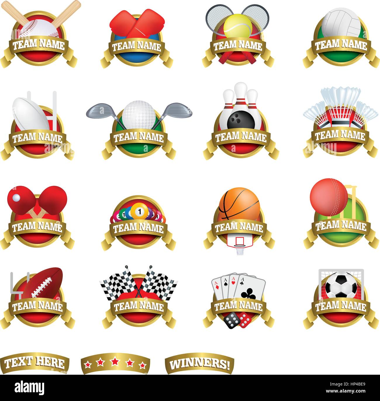vector clip art of a collection of sports team badges or logo