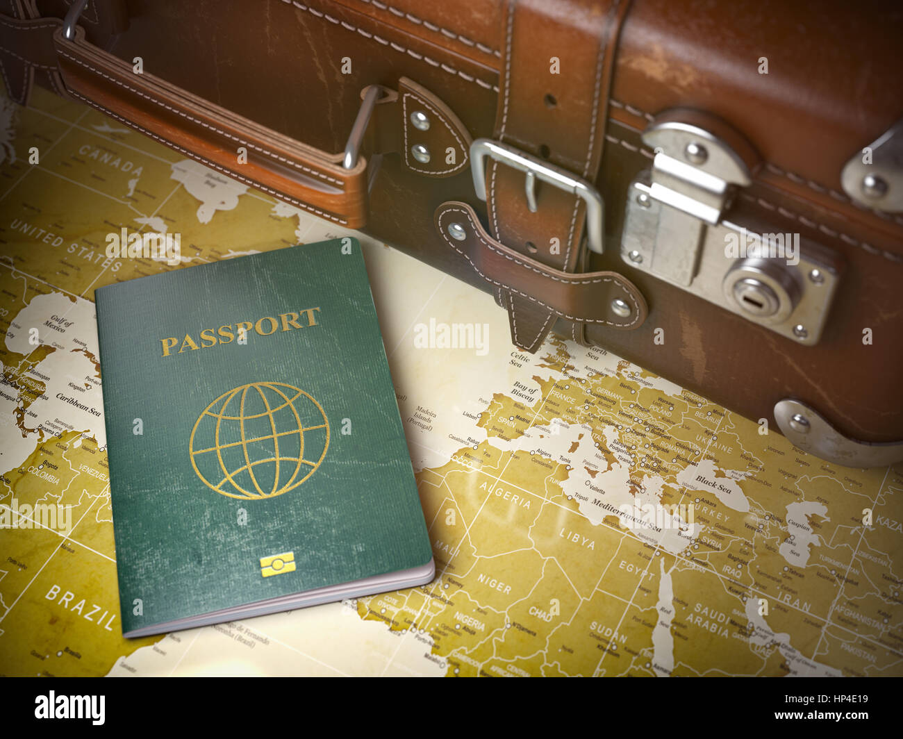 Travel or turism concept old suitcase with passport on the world travel or turism concept old suitcase with passport on the world map vintage background 3d illustration gumiabroncs Image collections