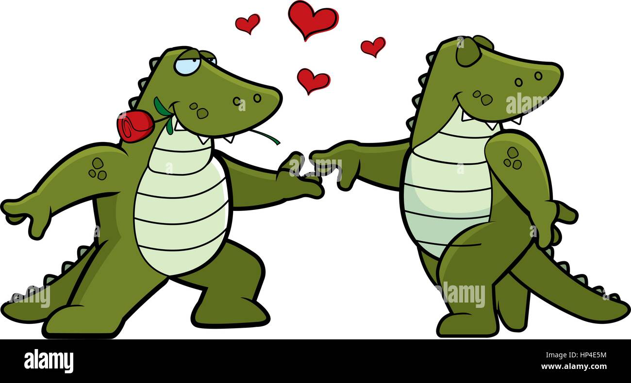 two cartoon alligators in love with each other stock
