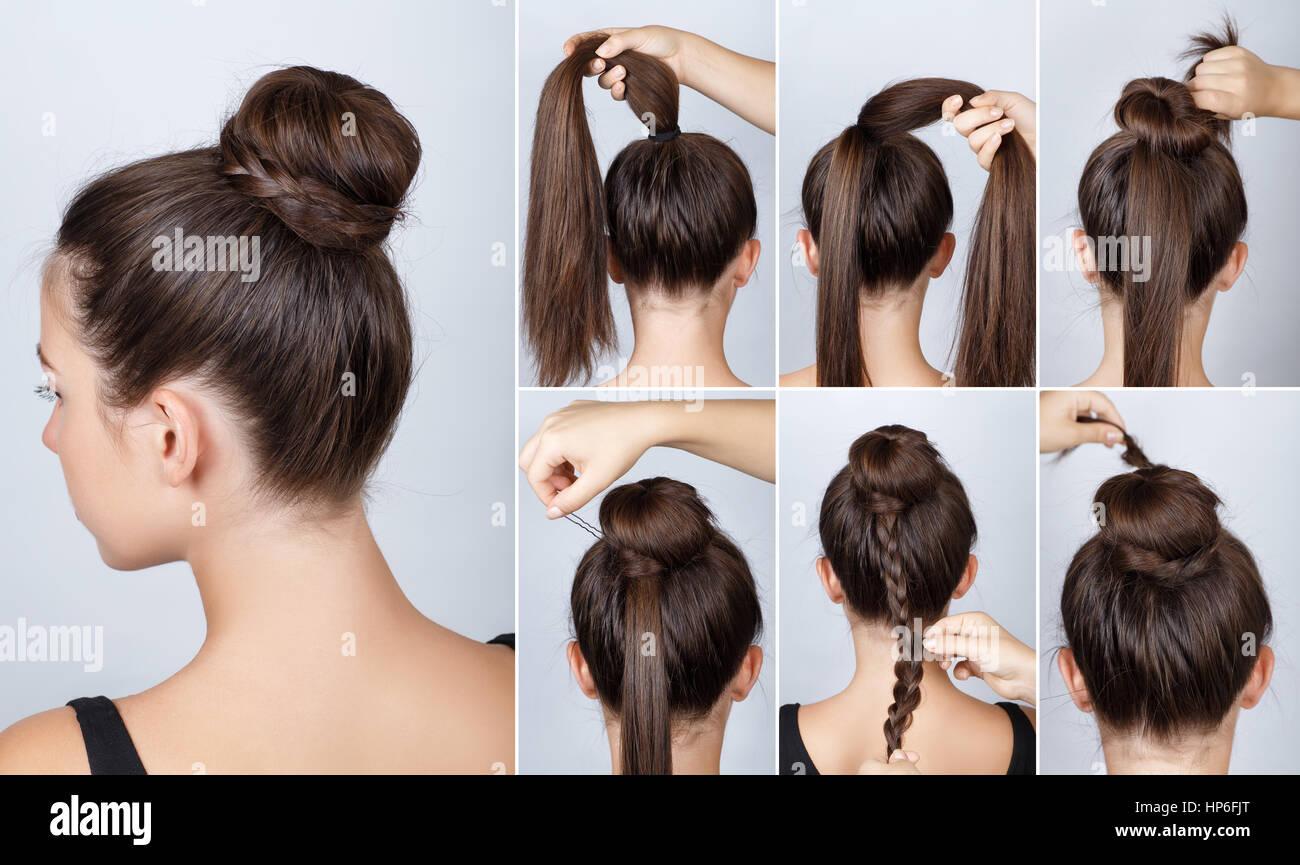 Hairstyle Tutorial Elegant Bun With Braid Simple Twisted Plait For Long Hair Tutoria