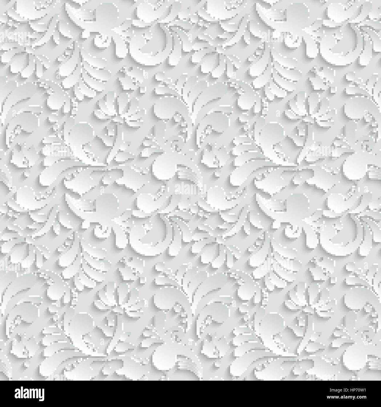 Abstract Floral 3d Background, Vector Seamless Pattern. Trendy ...