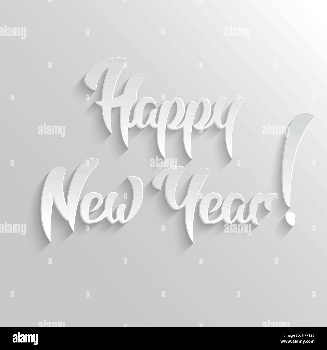 Happy New Year 3d Calligraphic Text with Shadow, Vector Greeting ...