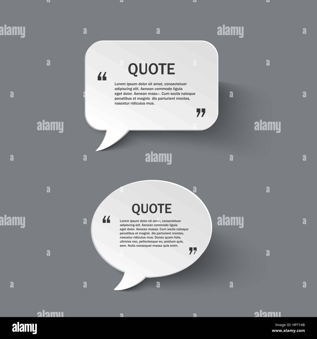 Quote form on paper speech bubbles with shadow, vector design Stock ...