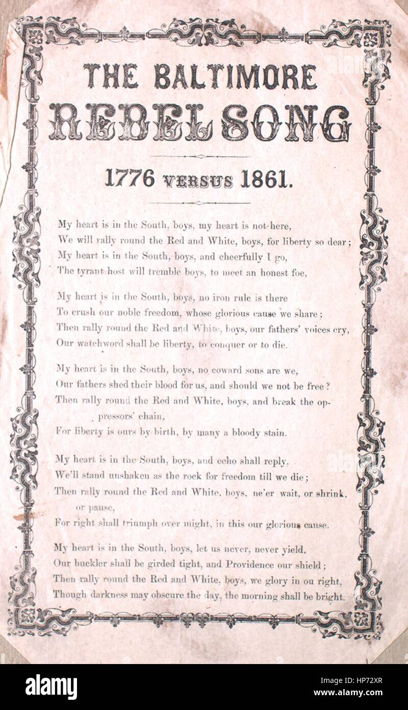 Sheet music cover image of the song 'Song Sheet The Baltimore ...