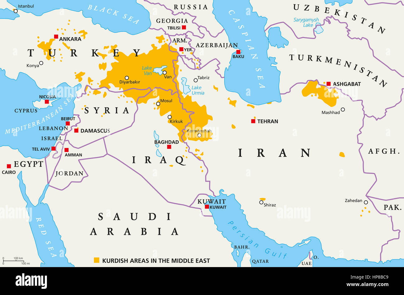 Kurdish areas in the Middle East political map Countries with
