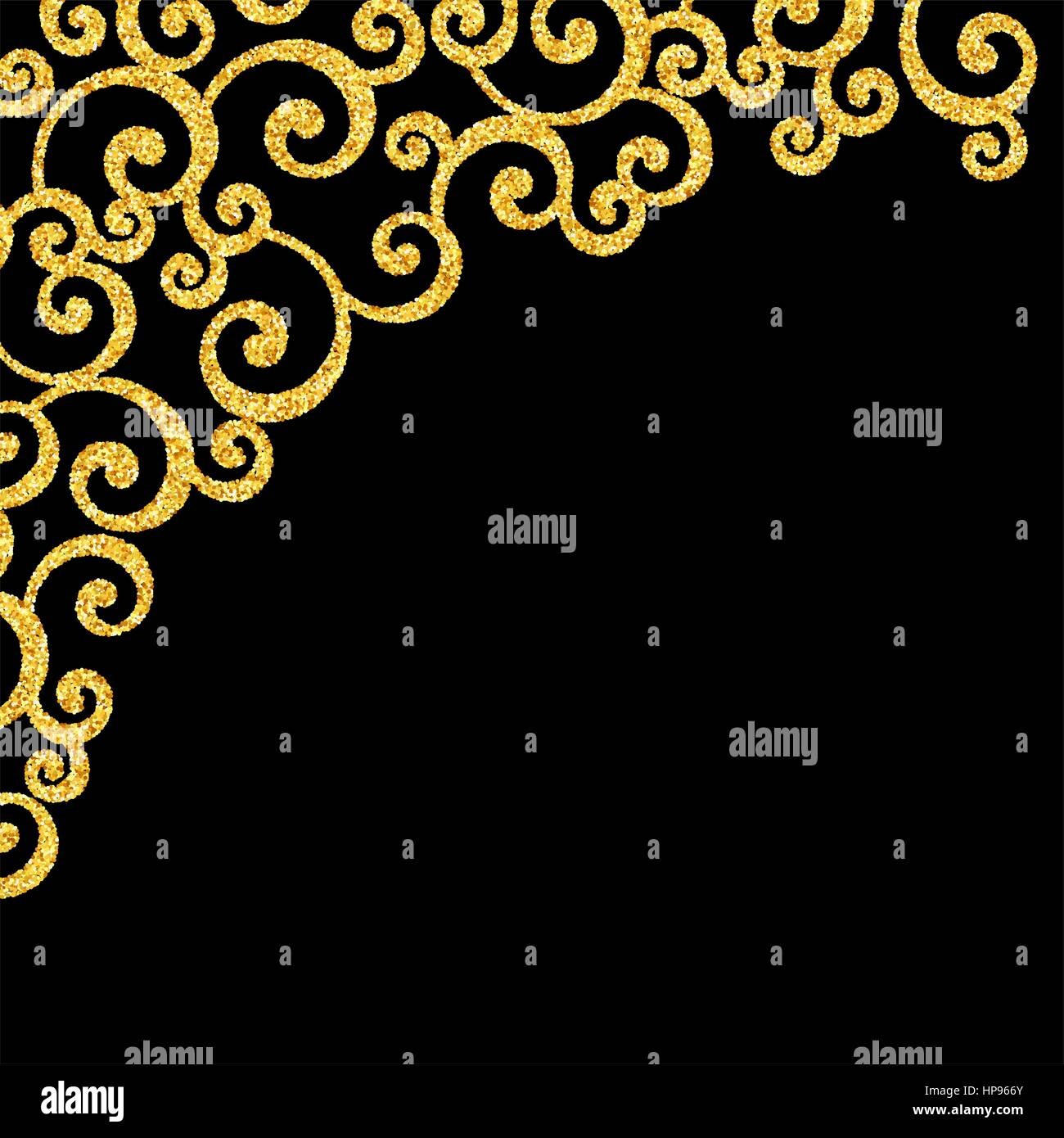 Vector gold glitter floral curl invitation card with swirl damask vector gold glitter floral curl invitation card with swirl damask pattern on black background stopboris Choice Image