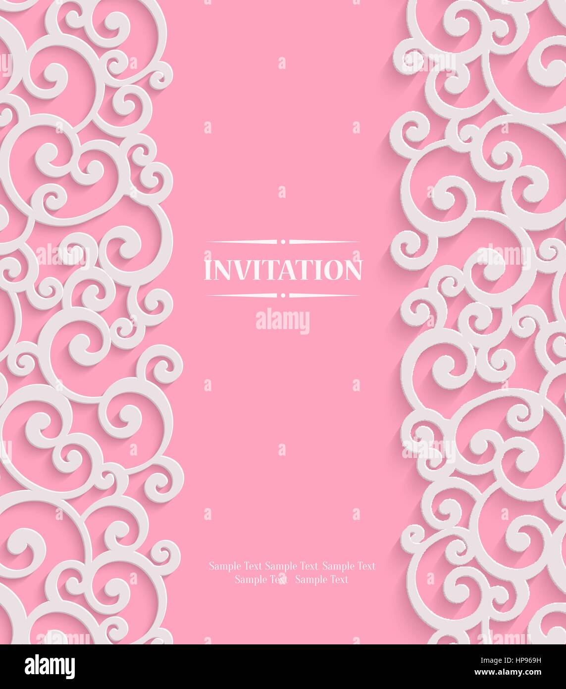 Pink 3d swirl valentines day card with floral curl pattern stock pink 3d swirl valentines day card with floral curl pattern invitation vector template background stopboris Choice Image