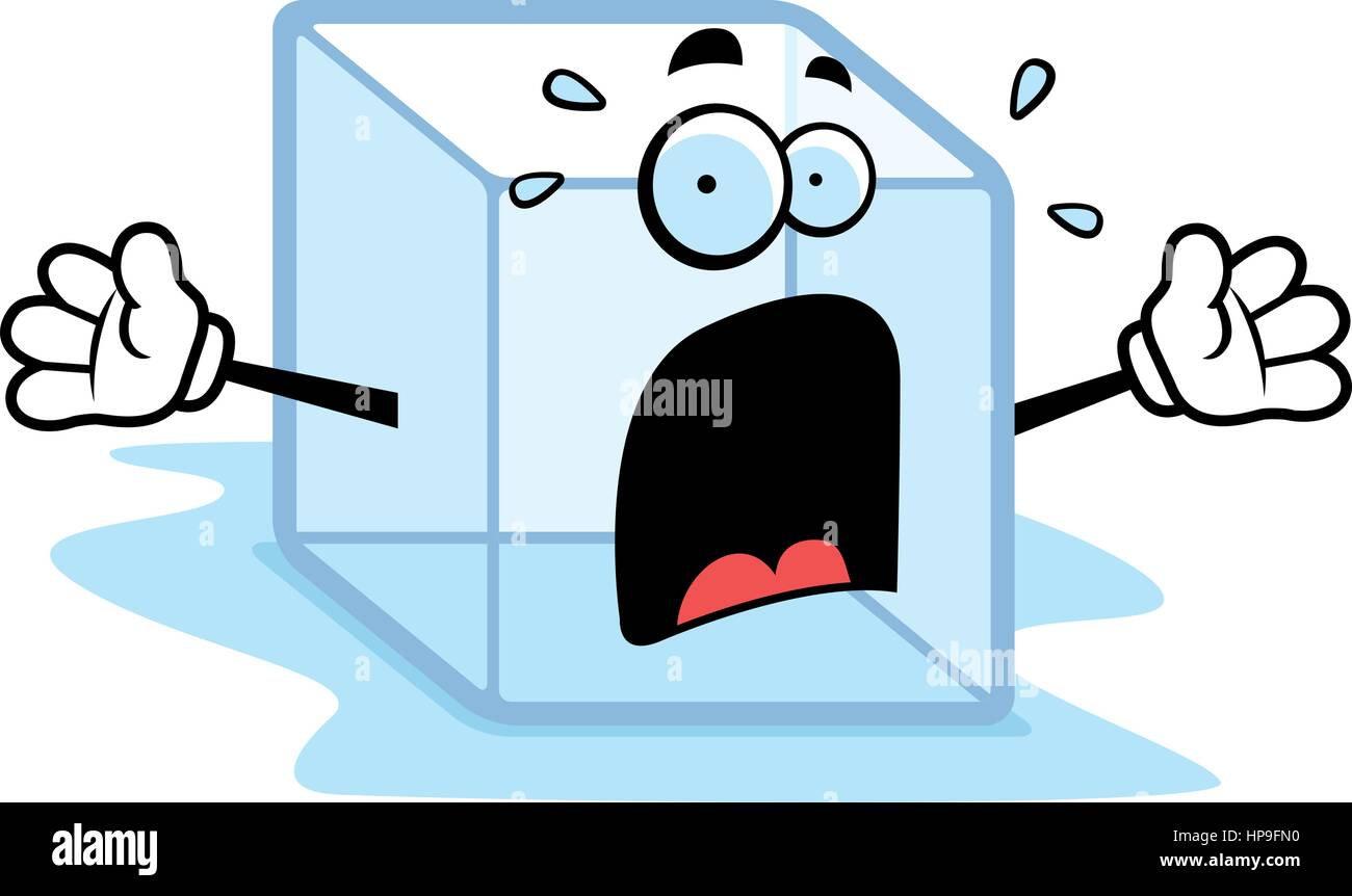 A Cartoon Melting Ice Cube With A Scared Expression Stock