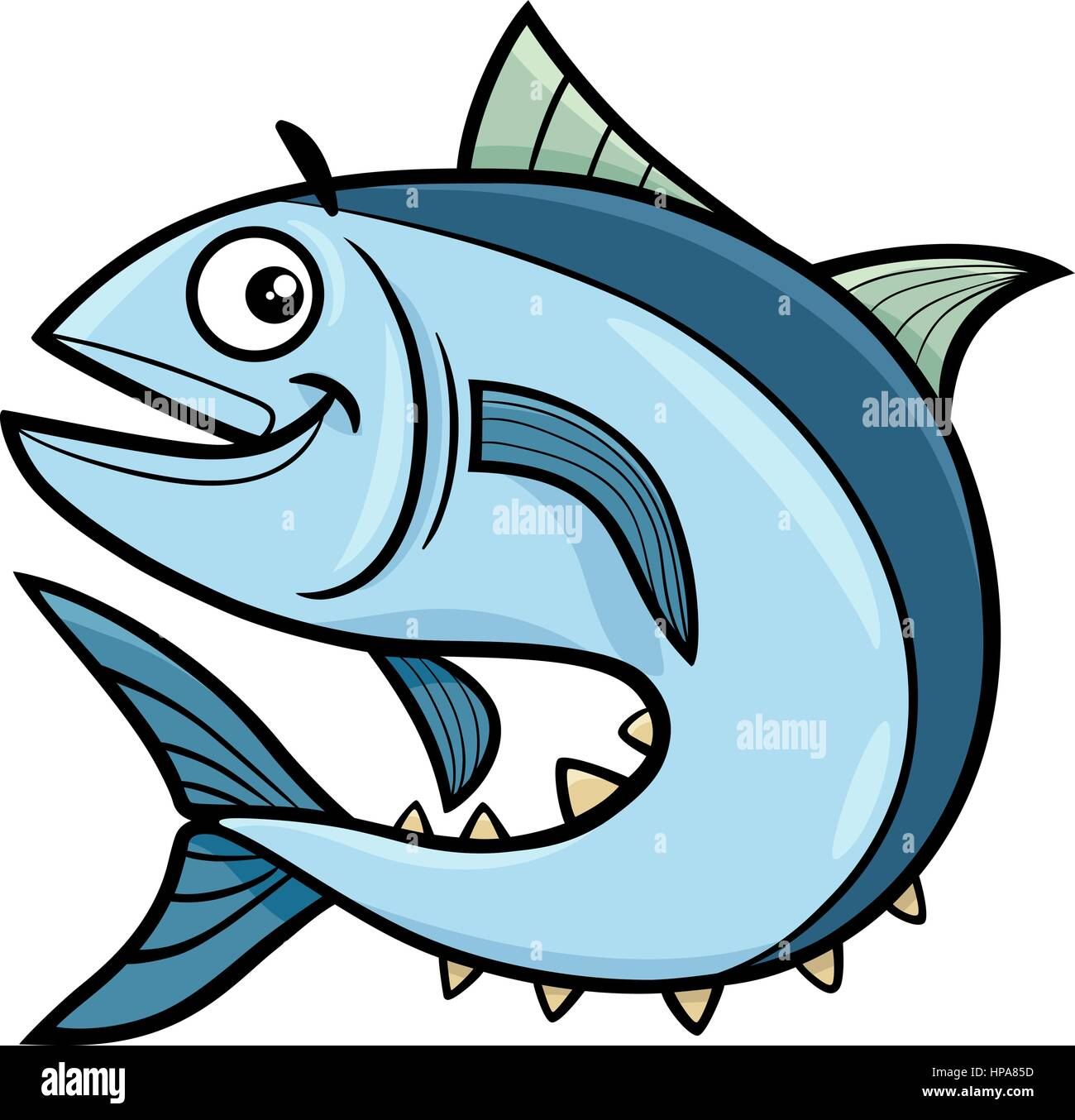 Cartoon Illustration Of Tuna Fish Sea Life Animal