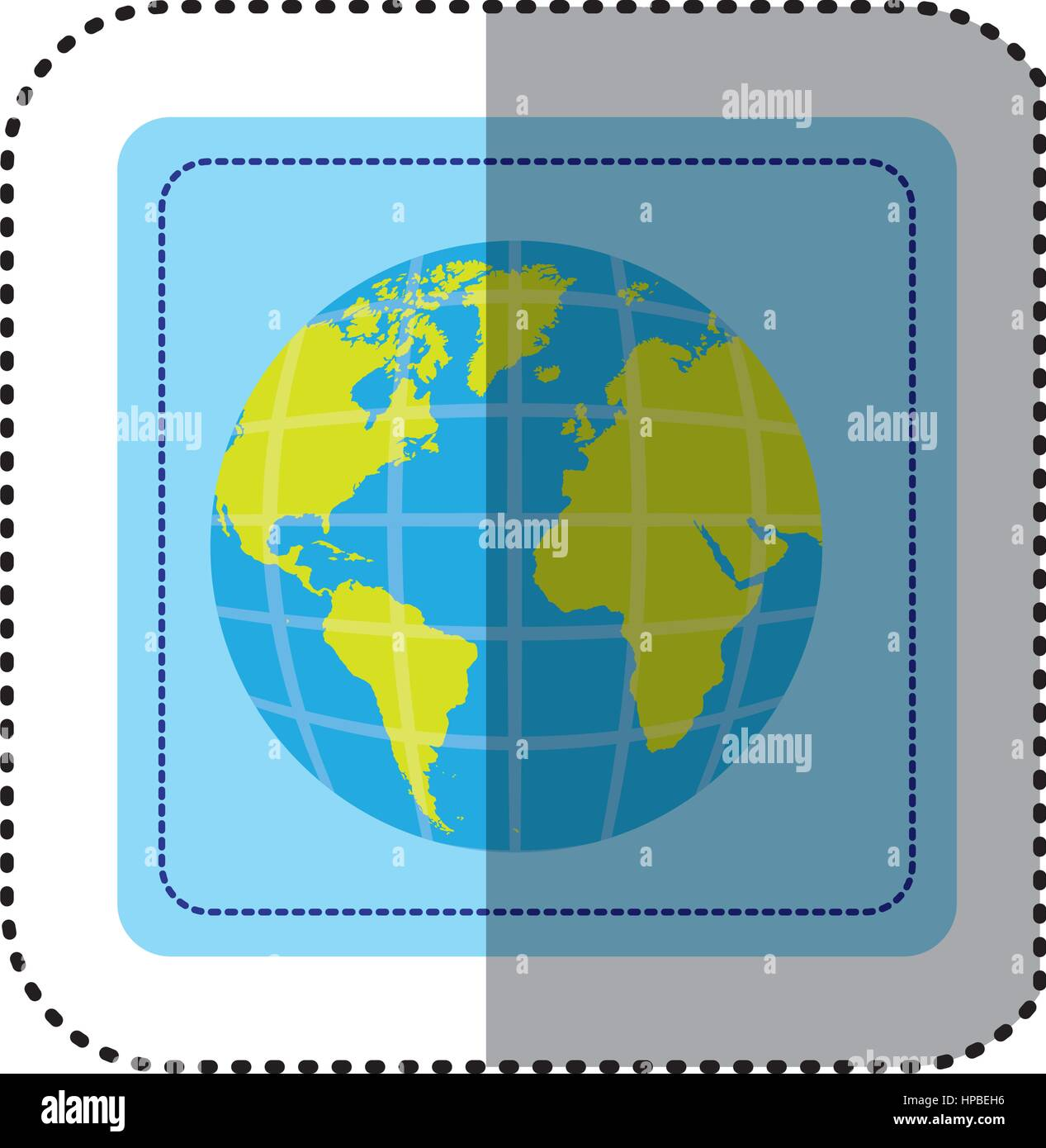 Sticker square button earth world map with continents in 3d stock sticker square button earth world map with continents in 3d gumiabroncs Choice Image