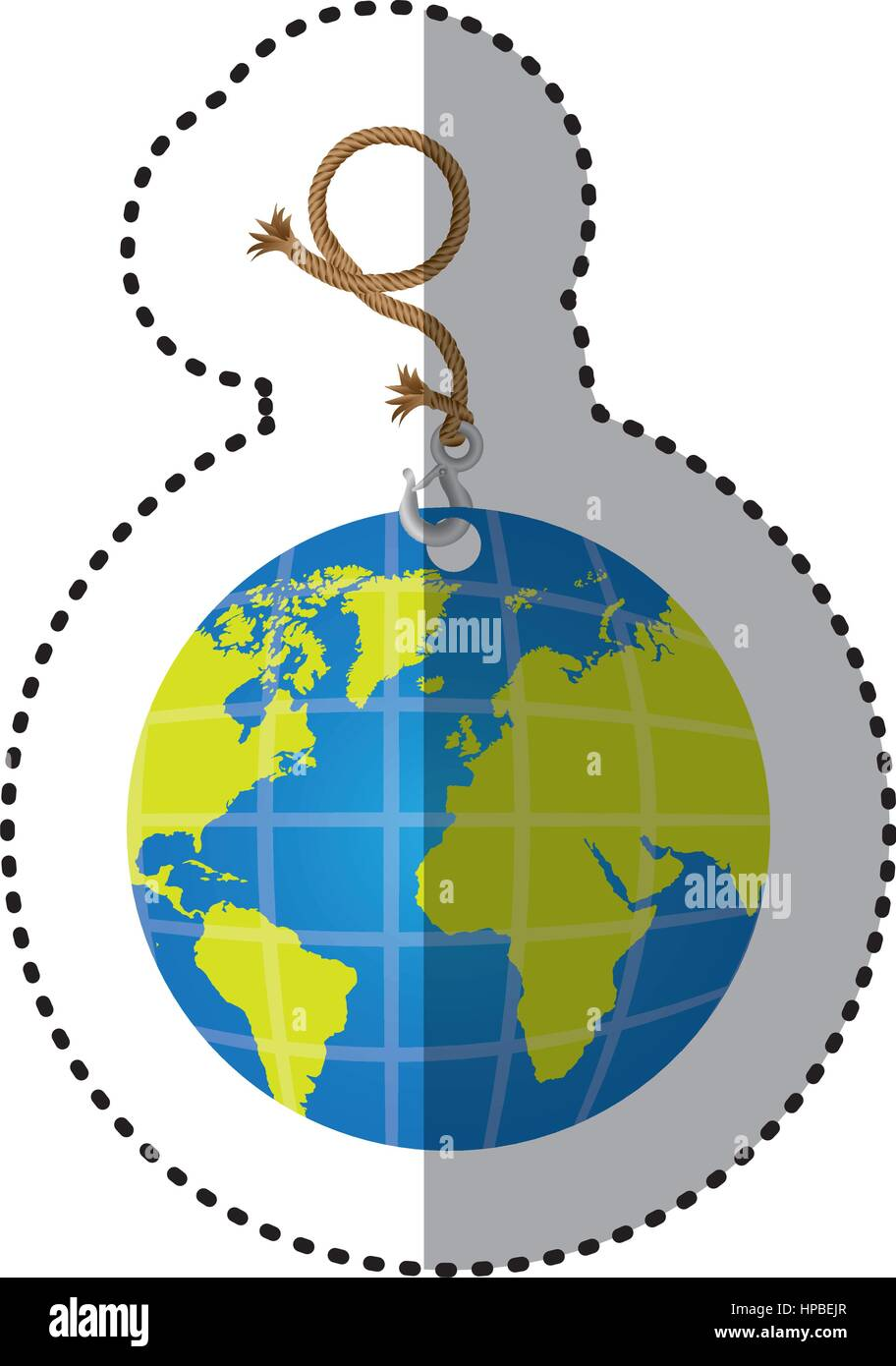 Sticker hanging rope with metal hook and earth world map stock sticker hanging rope with metal hook and earth world map gumiabroncs Images