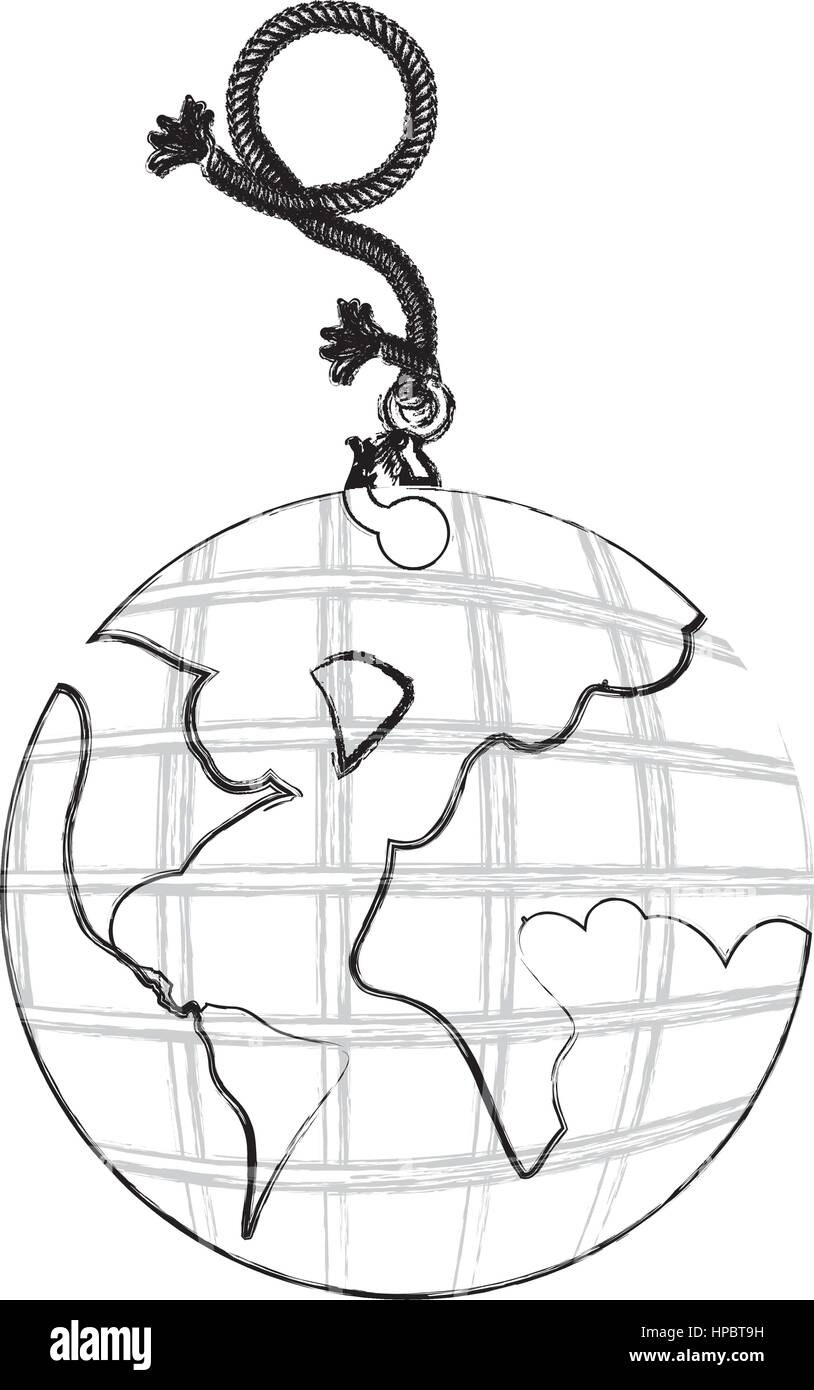 monochrome contour hand drawing of hanging rope with metal hook ...