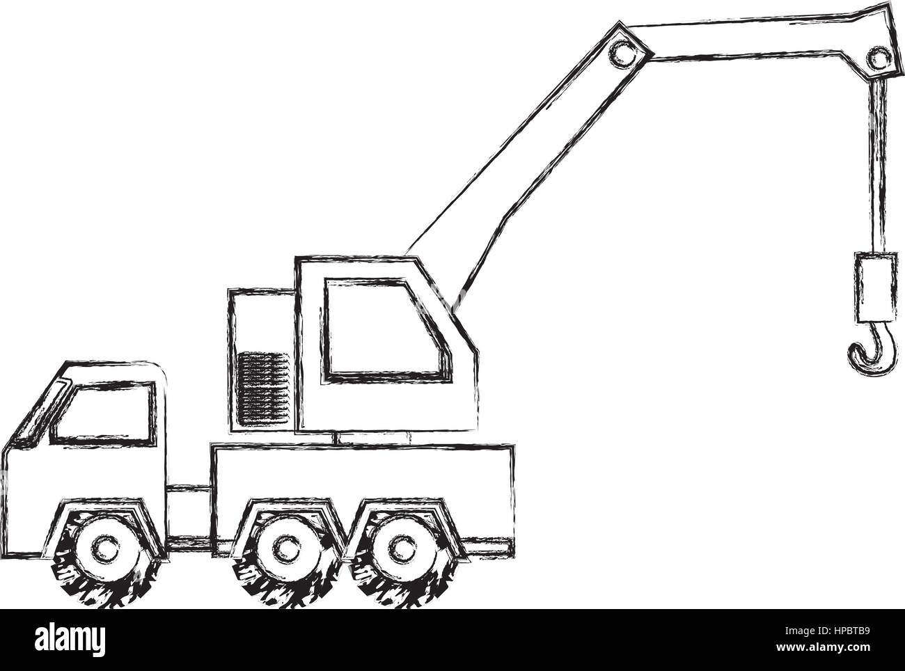 monochrome contour hand drawing of tow truck vehicle transport ...