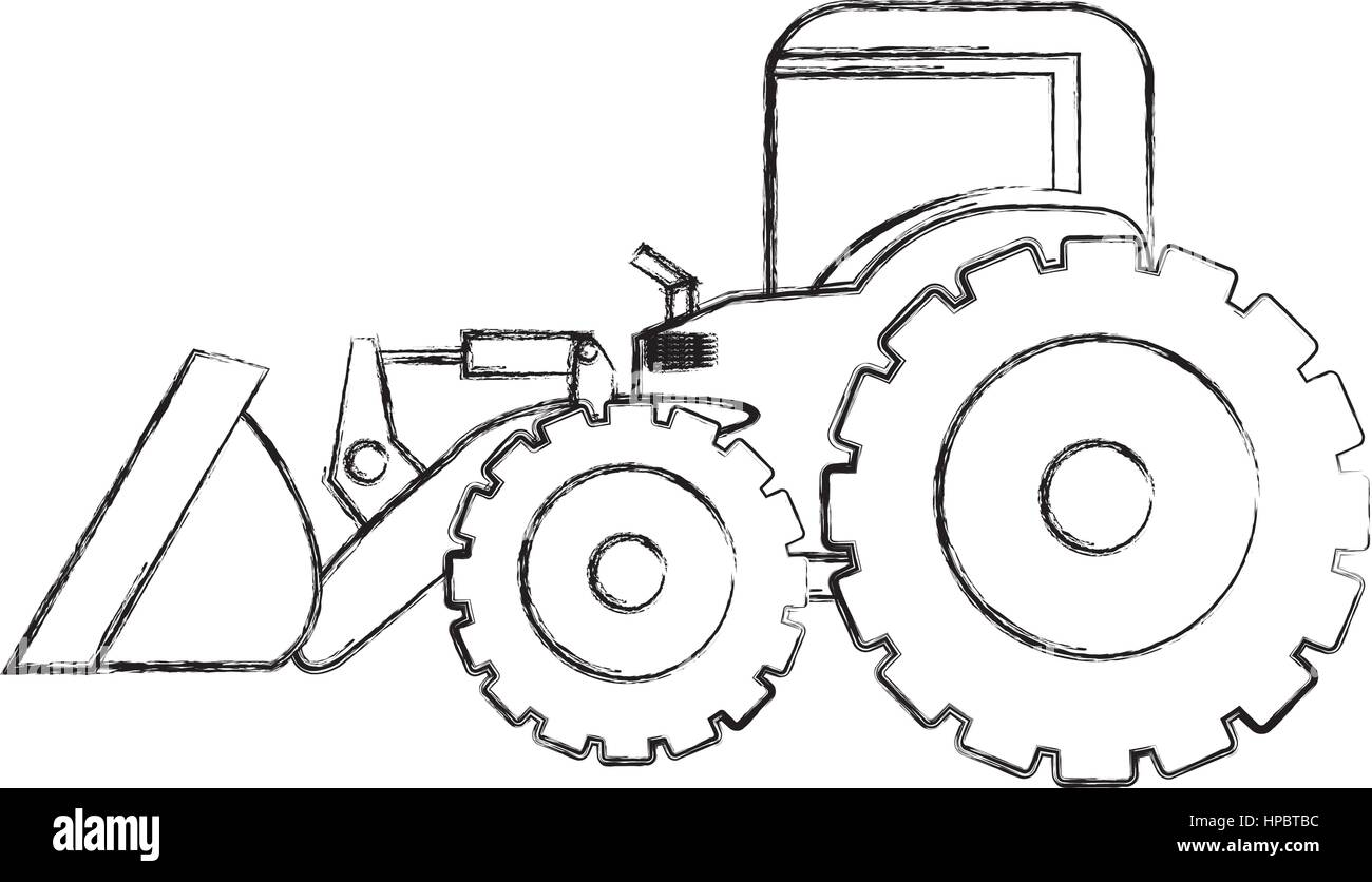 monochrome contour hand drawing of tractor loader with shovel ...