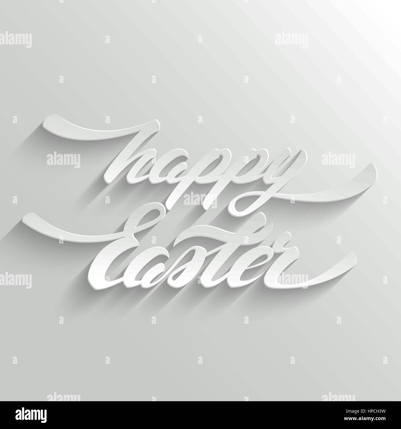 Happy Easter Greeting Card with 3d Hand lettering on White Stock ...