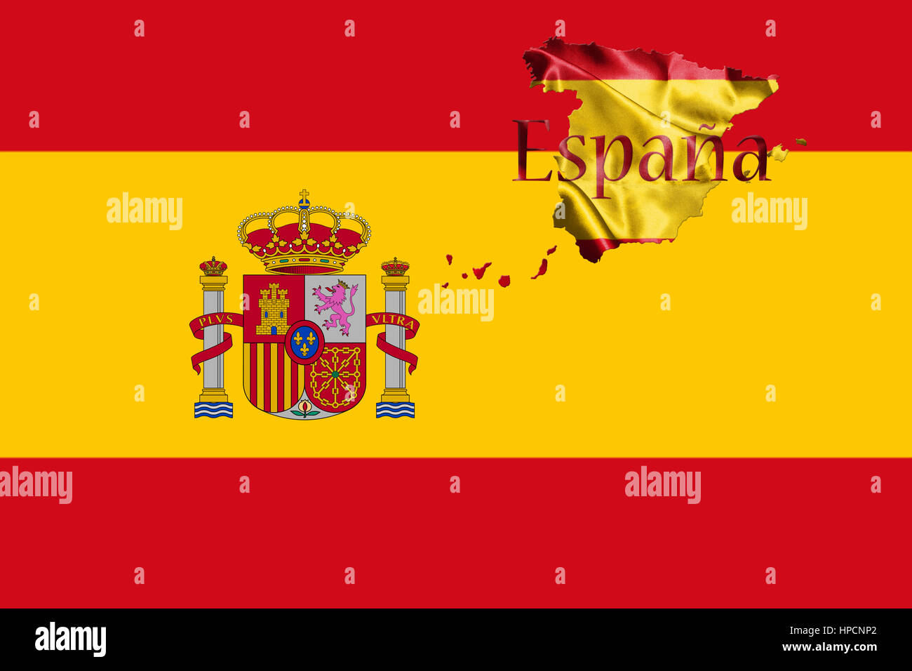 Spanish National Flag and Map With Country Name Written On It 3D