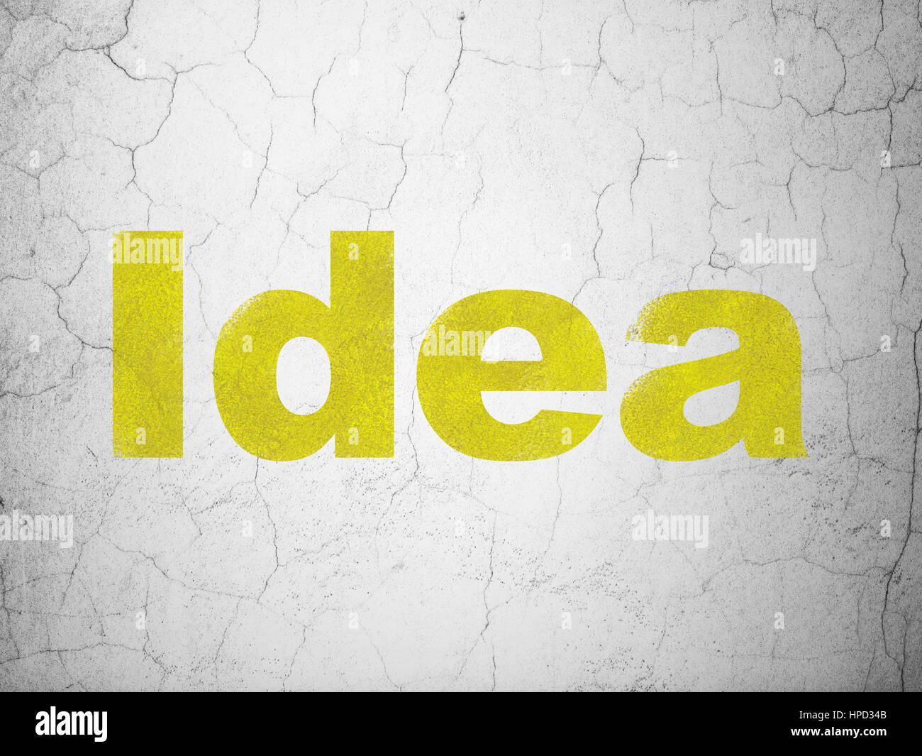 Marketing concept: Yellow Idea on textured concrete wall background ...