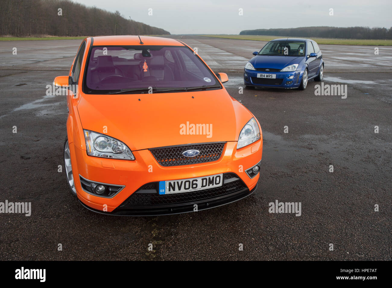Blue Mk1 Ford Focus Rs And Orange Mk2 Focus St Stock Photo