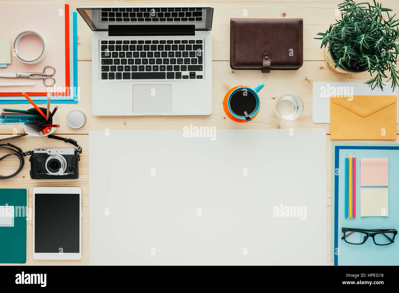creative office supplies. Creative Contemporary Desktop With Laptop, Digital Tablet, Camera And Office Supplies, Flat Lay Banner Copy Space Supplies