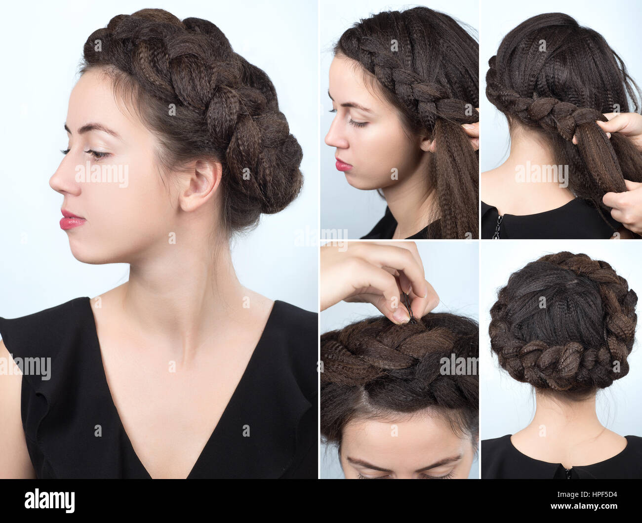 Process of weaving braid hairstyle for long hair boho style stock hairstyle for long hair boho style hairstyle volume braided crown tutorial step by step hairstyle for long hair baditri Choice Image