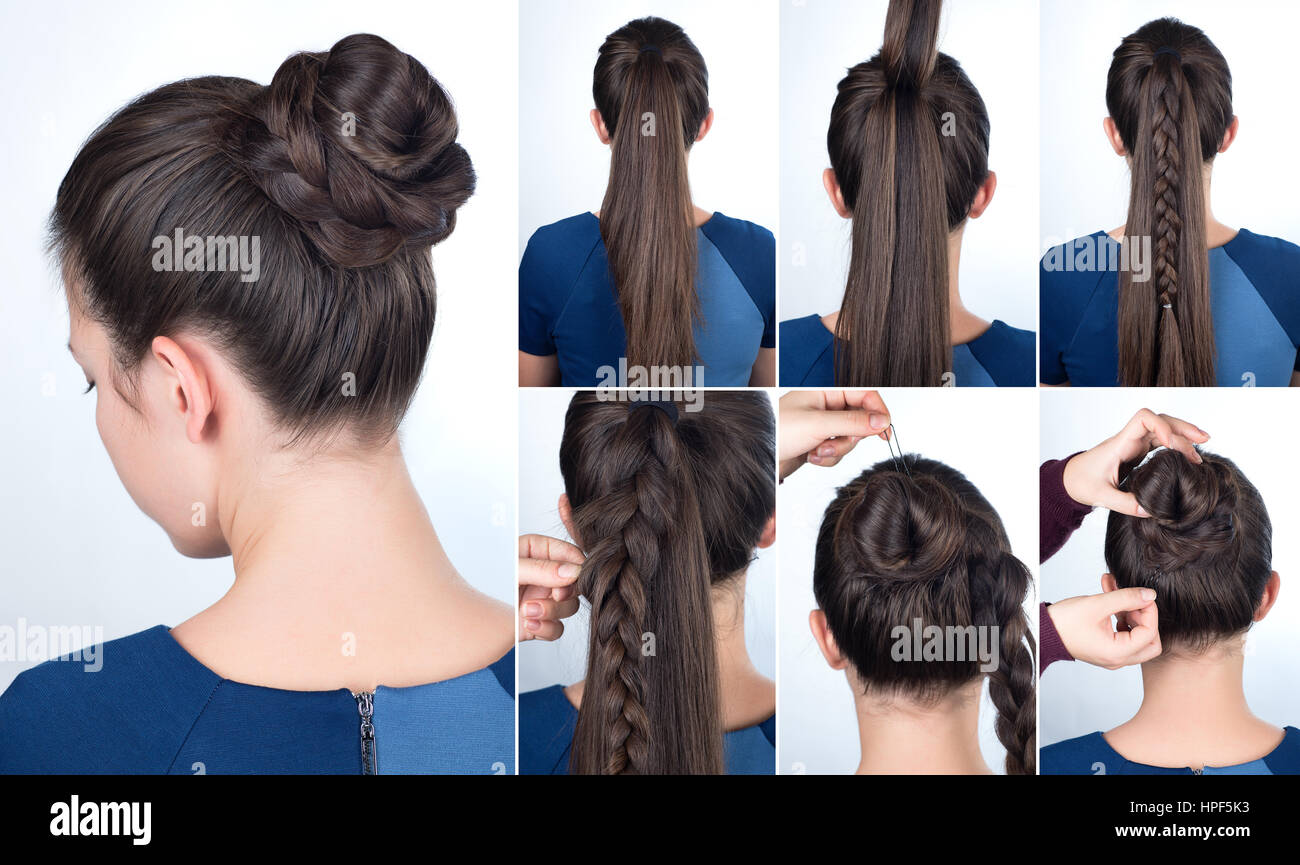 Hairstyle Tutorial Elegant Bun With Braid Simple Twisted Plait For Long Hair