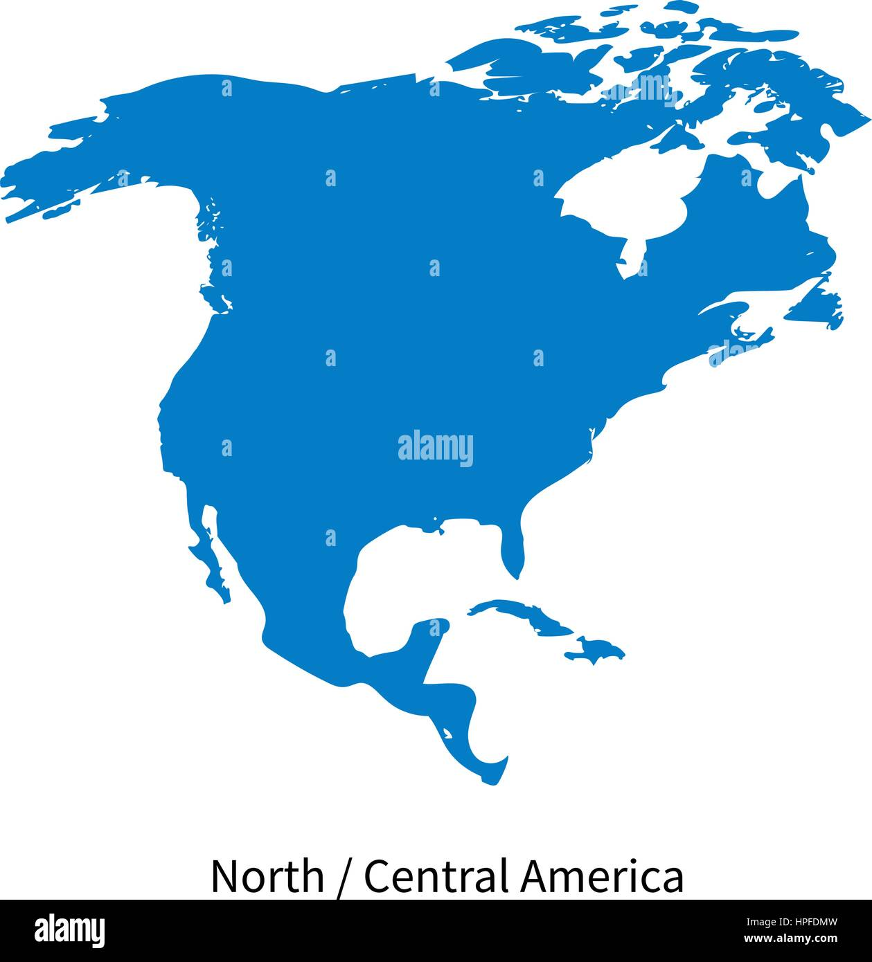 Detailed vector map of North and Central America Region on white