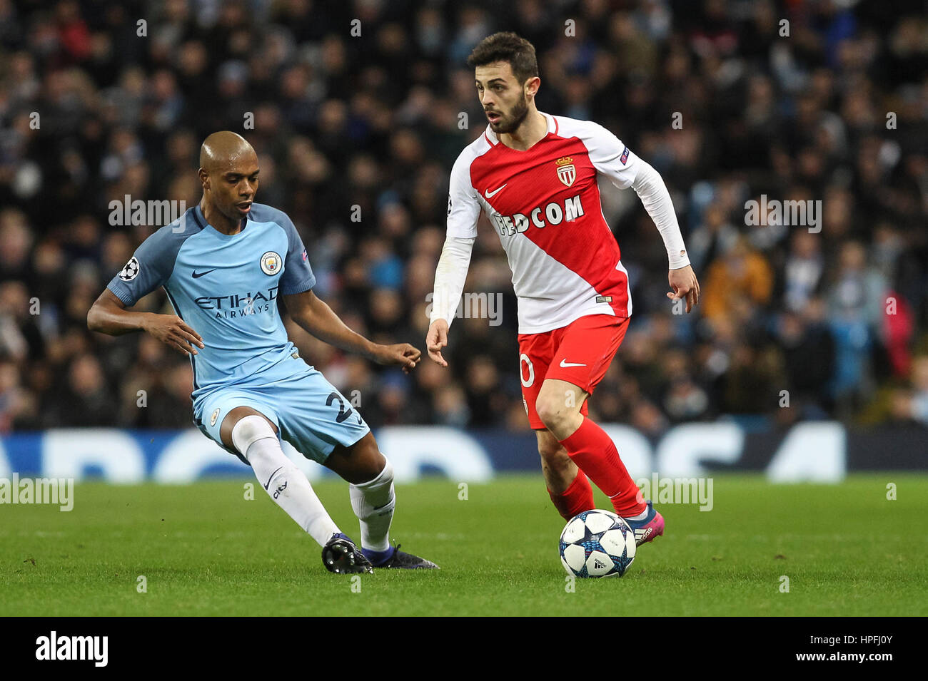 Manchester UK 21st Feb 2017 Bernardo Silva of Monaco and Stock