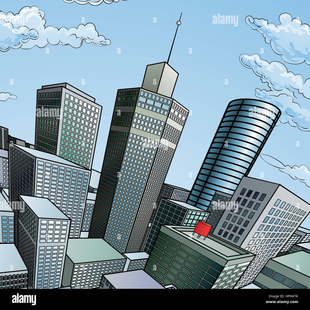 Design Your Apartment A City Buildings Cartoon Pop Art Comic Book Style
