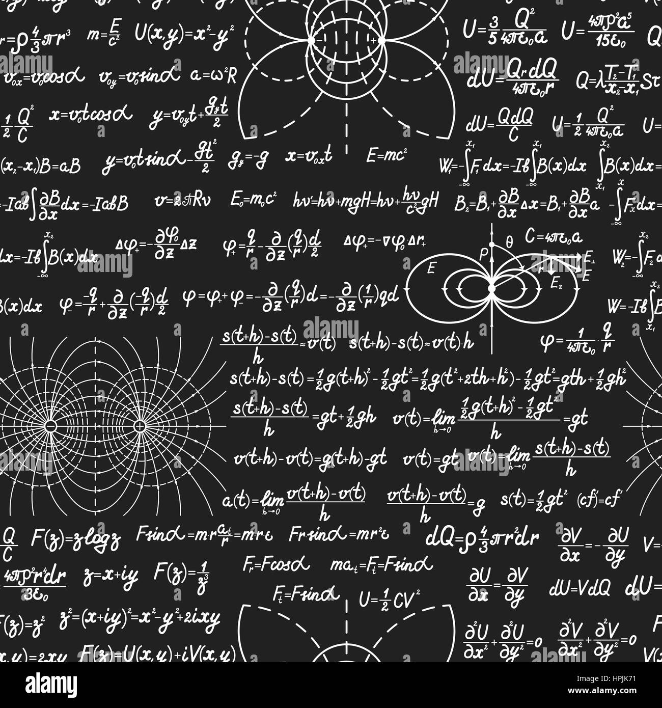 Physical vector seamless pattern with formulas, equations and figures,  handwritten on a blackboard seamless design
