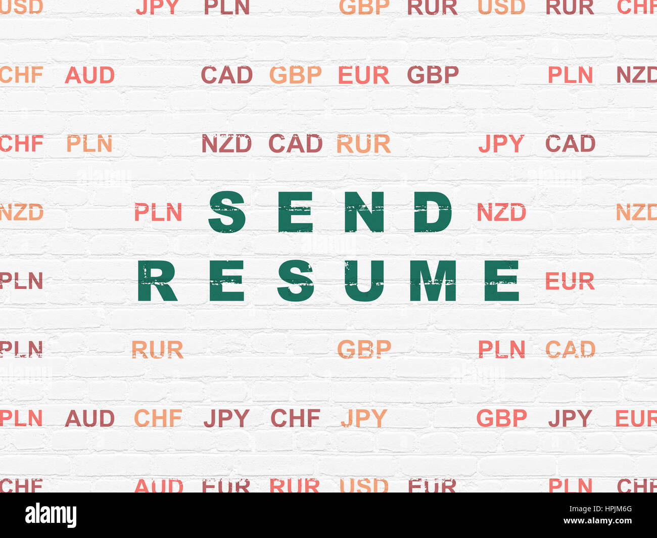 Business Concept Send Resume On Wall Background Stock Photo