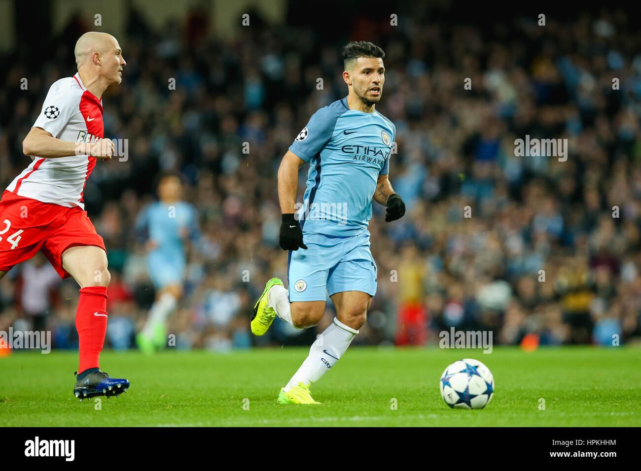 Manchester UK 21st Feb 2017 Sergio Aguero Man C Football