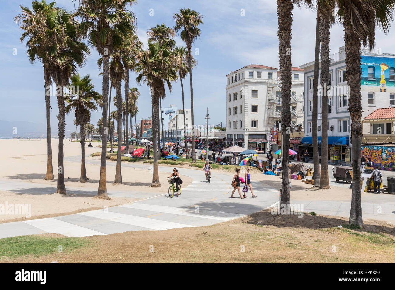 Editorial View Of The Venice Beach Boardwalk Bike Path In Los