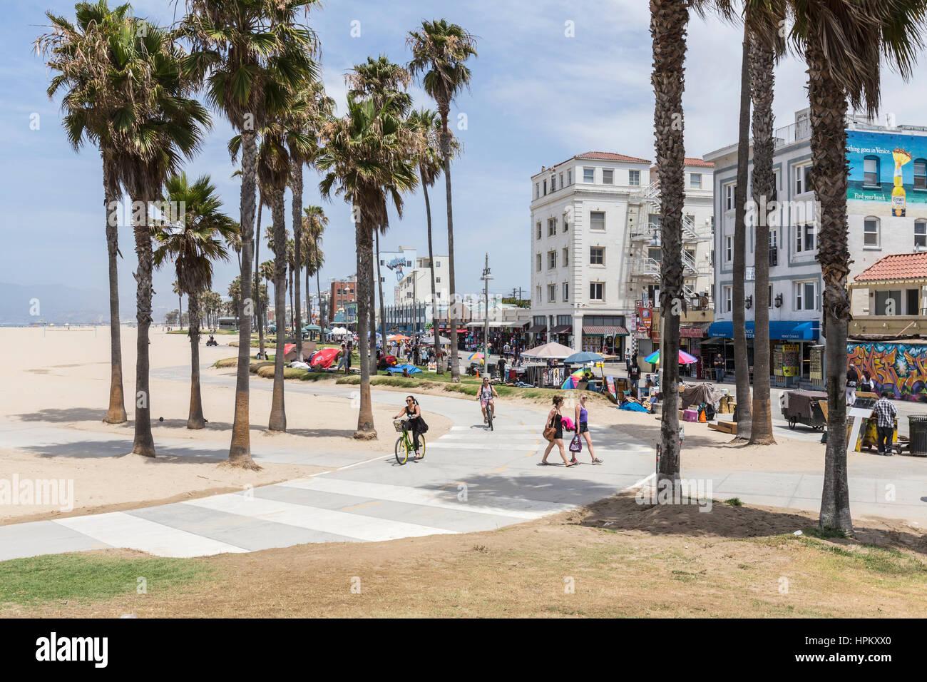 Editorial View Of The Venice Beach Boardwalk Bike Path In Los