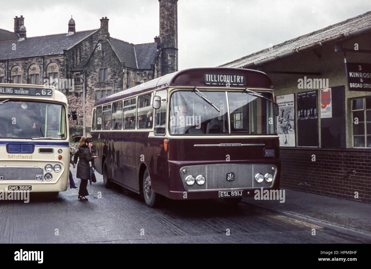 Scotland, UK - 1973: Vintage image of buses. Midland Leyland MPE 82 ...